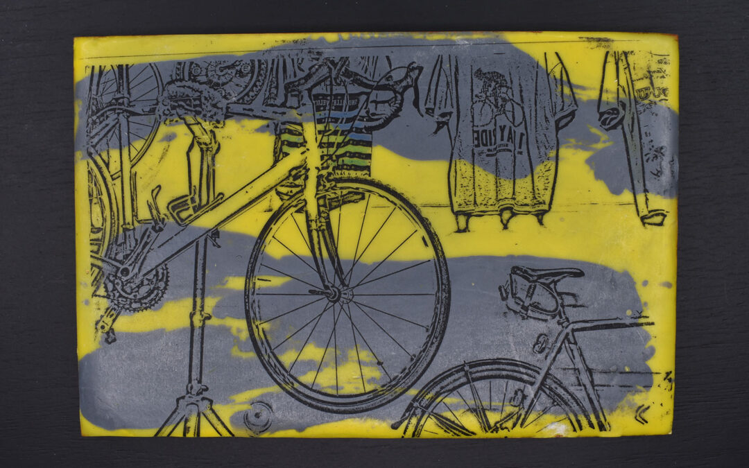 Encaustic bike art made from your images